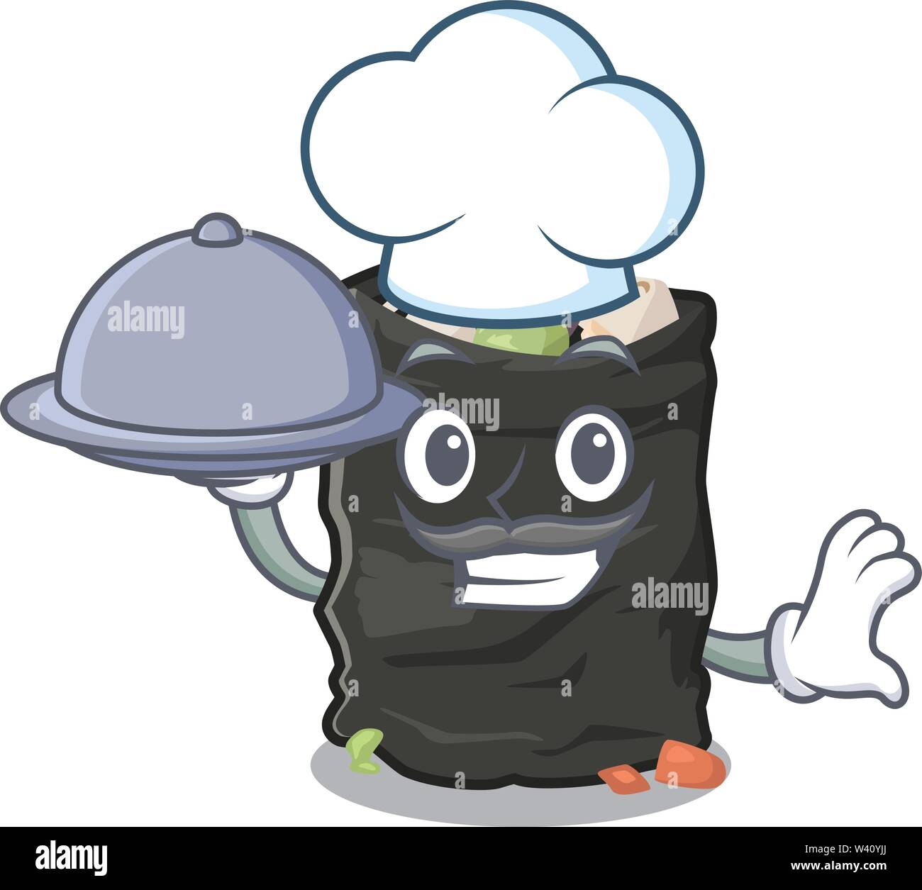Chef with food cartoon garbage bag next to table vector illustration - Stock Image