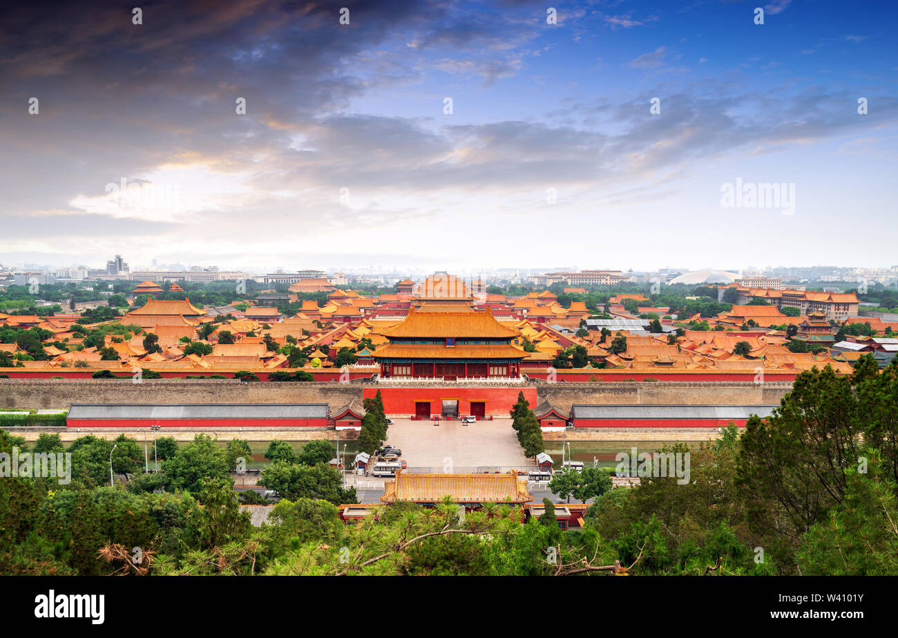 Jingshan Park,panorama above on the Forbidden City, Beijing. China.Chinese translation of the inscription - 'Gate of Godly Prowess' - Stock Image