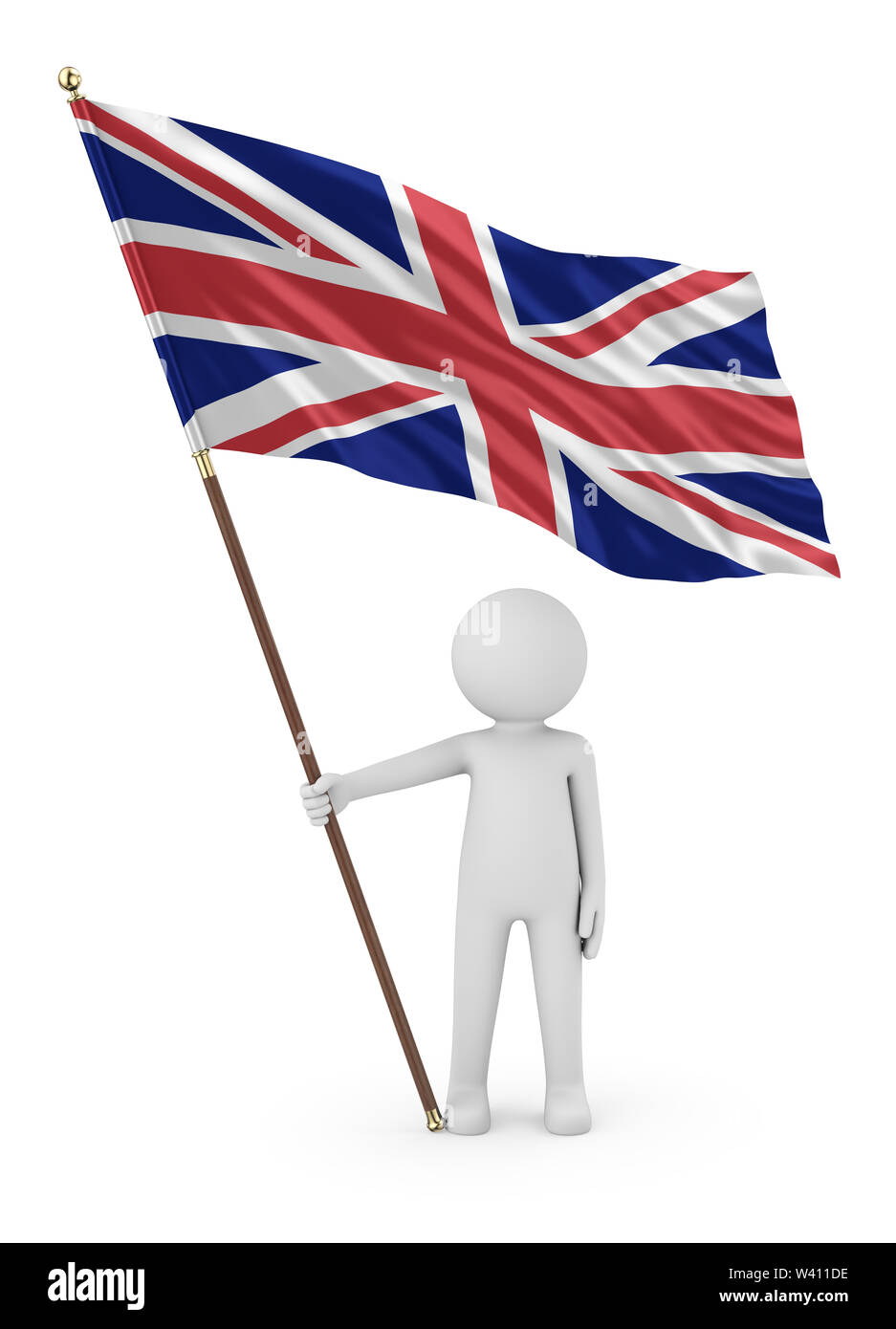 British Patriot Stickman Holding National Flag of the United Kingdom of Great Britain and Northern Ireland 3D Illustration On White Background Stock Photo