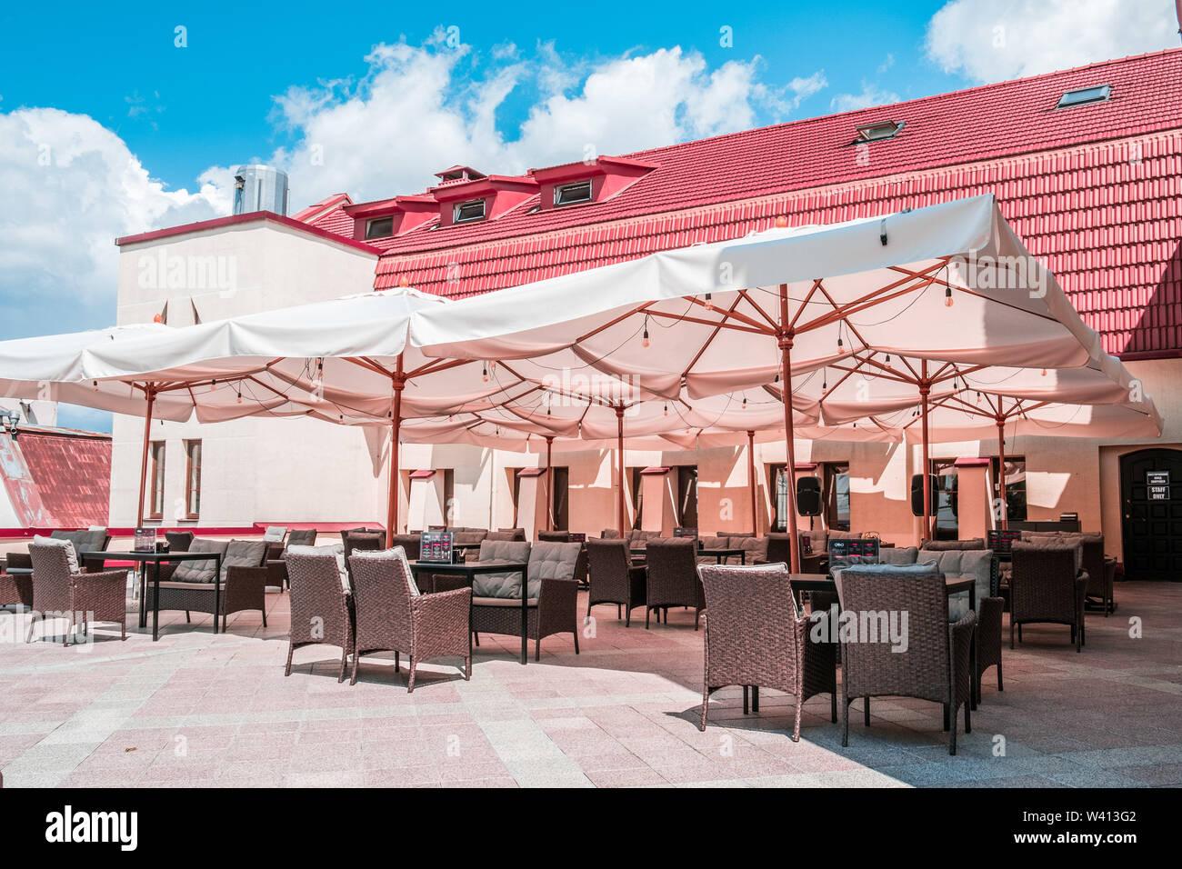 Cosy Outdoor Restaurant In Historical Minsk City Center In Belarus Stock Photo Alamy