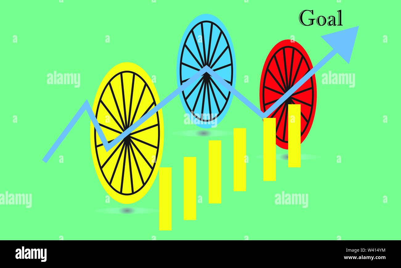 Business stick graph chart of stock market investment trading. trend of graph vector design Stock Vector