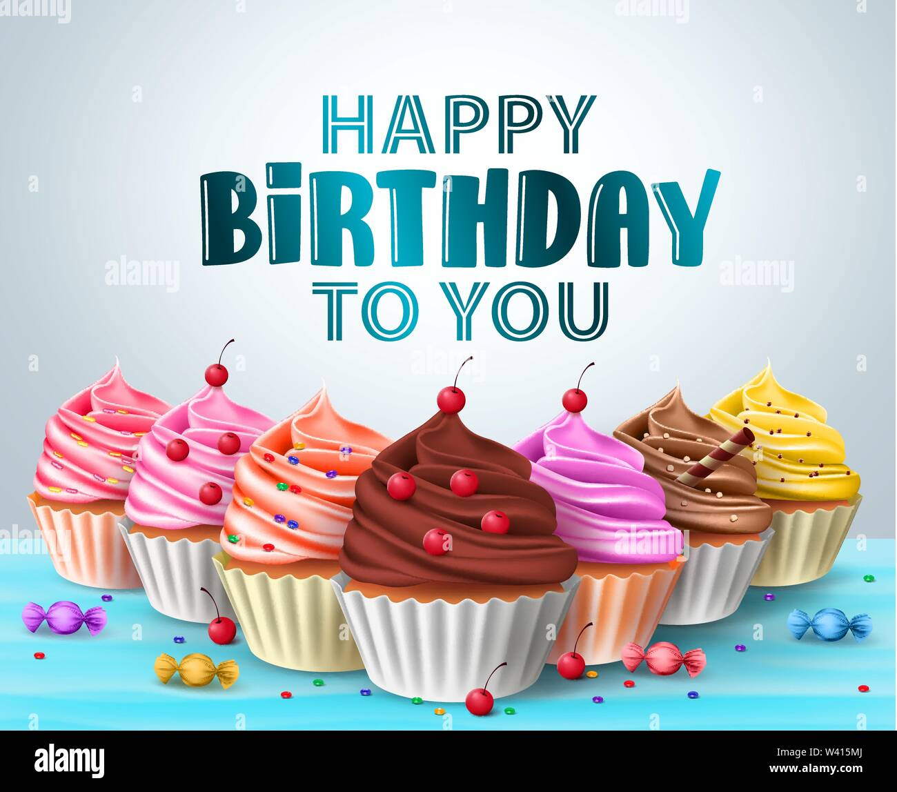 Magnificent Cupcake S Vector Birthday Background Happy Birthday Text And Funny Birthday Cards Online Elaedamsfinfo
