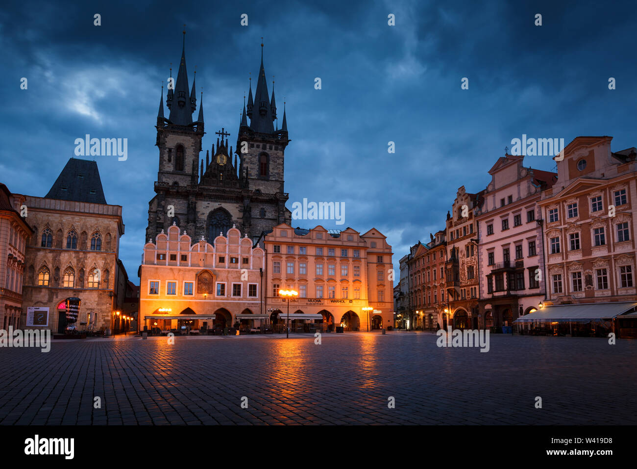Prague, Czech Republic - March 15, 2019: Dawn in the Old Town Square in the historical city centre of Prague. Stock Photo