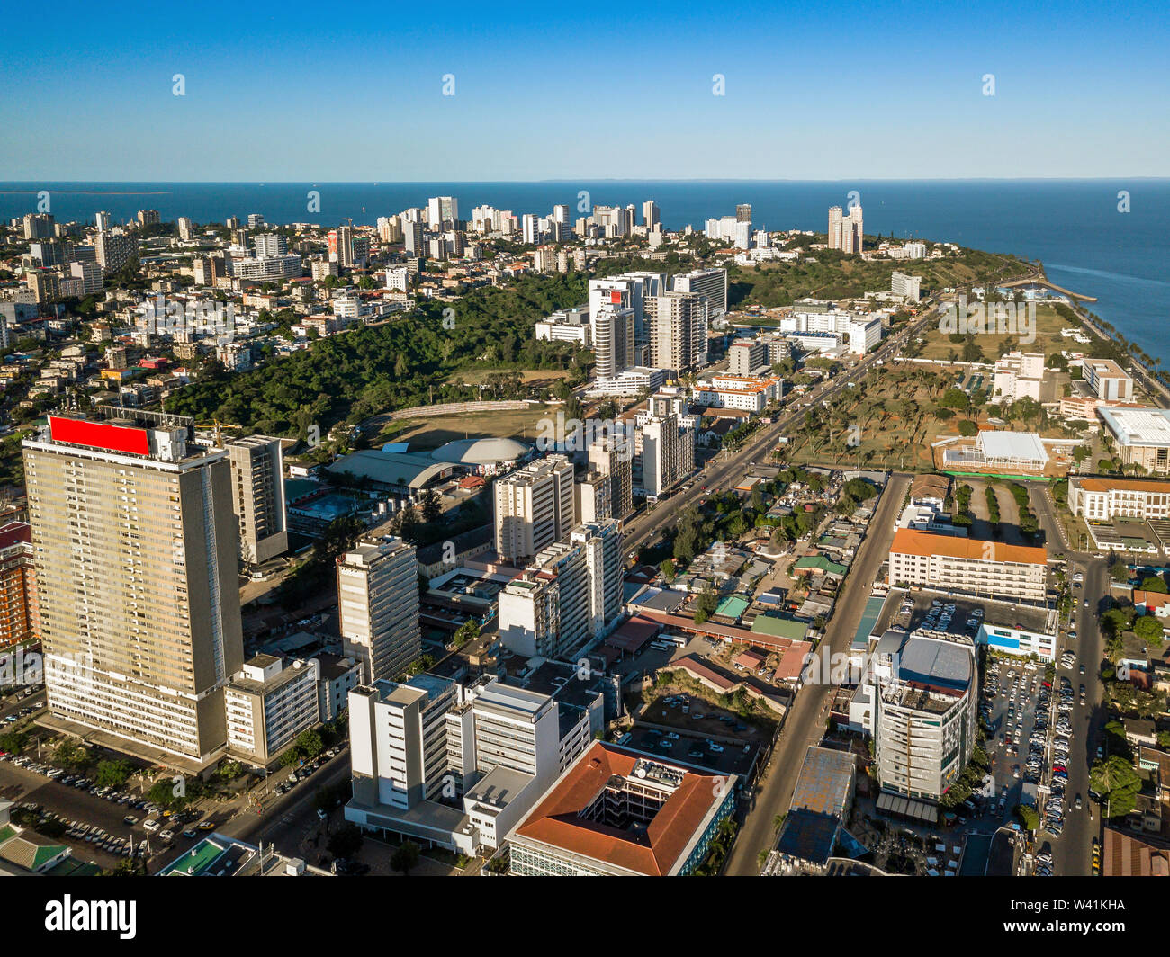 Aerial view of downtown of Maputo, capital city of Mozambique, Africa Stock Photo