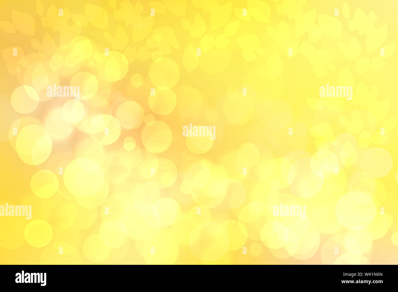 Sunny abstract bright yellow gold bokeh autumn background texture with leaves. Space for your design. Beautiful yellow illustration. - Stock Image
