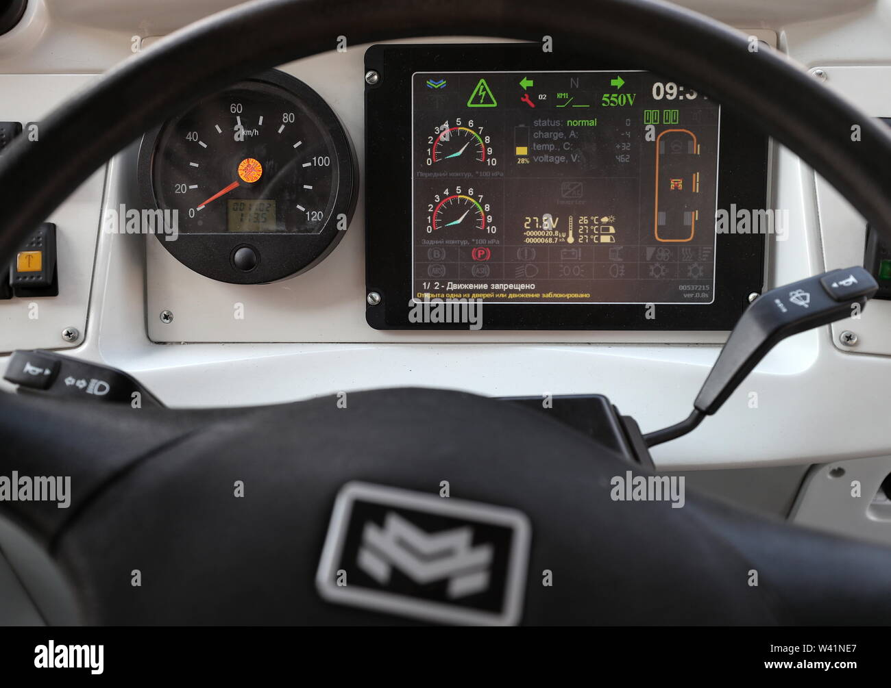 Yekaterinburg, Russia. 19th July, 2019. YEKATERINBURG, RUSSIA - JULY 19, 2019: The dashboard of a Belkommunmash electric bus ahead of a test run along Trolleybus Route 1, from Shchorsa Street to a railway station. The bus, manufactured by Belarus' Belkommunmash Company, was displayed at the 2019 Innoprom exhibition. Donat Sorokin/TASS Credit: ITAR-TASS News Agency/Alamy Live News - Stock Image