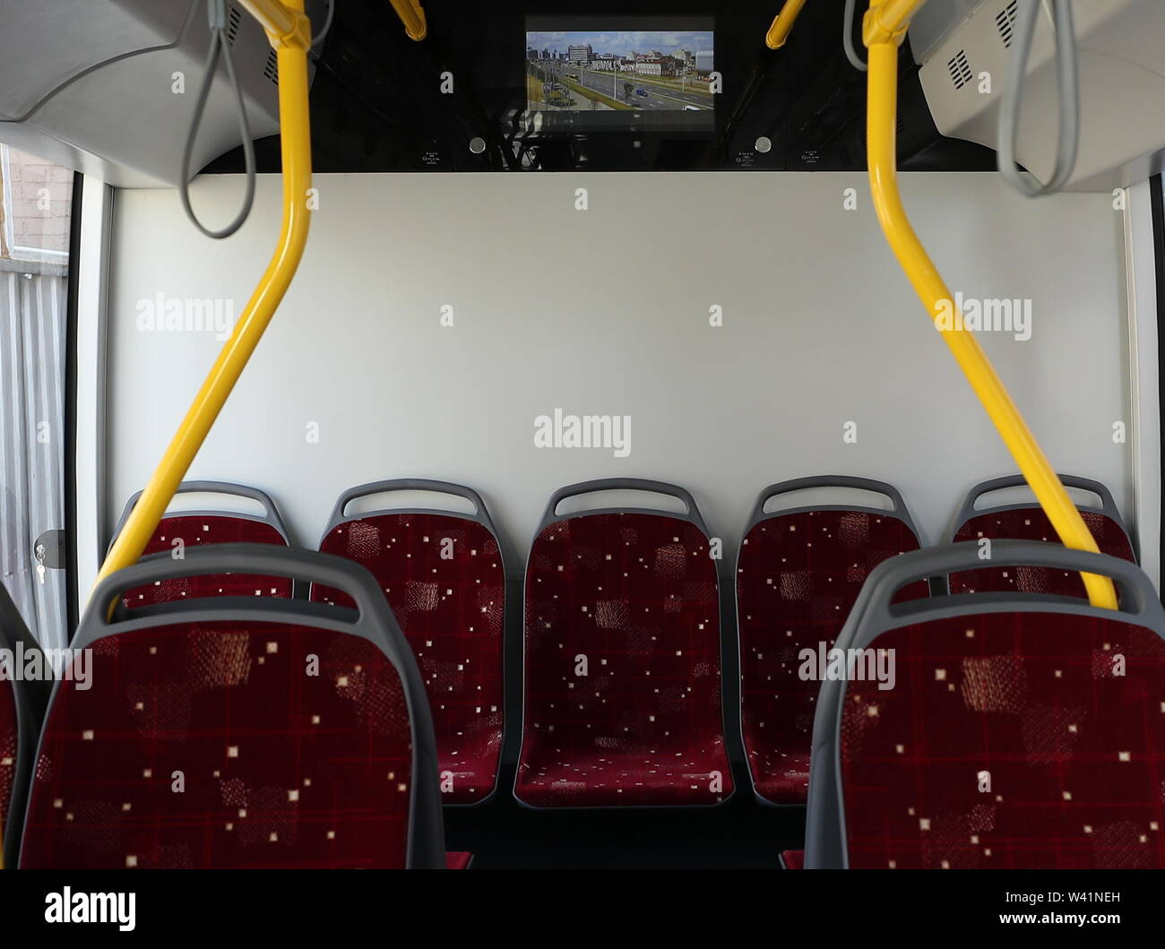 Yekaterinburg, Russia. 19th July, 2019. YEKATERINBURG, RUSSIA - JULY 19, 2019: The cabin of a Belkommunmash electric bus during a test run along Trolleybus Route 1, from Shchorsa Street to a railway station. The bus, manufactured by Belarus' Belkommunmash Company, was displayed at the 2019 Innoprom exhibition. Donat Sorokin/TASS Credit: ITAR-TASS News Agency/Alamy Live News - Stock Image