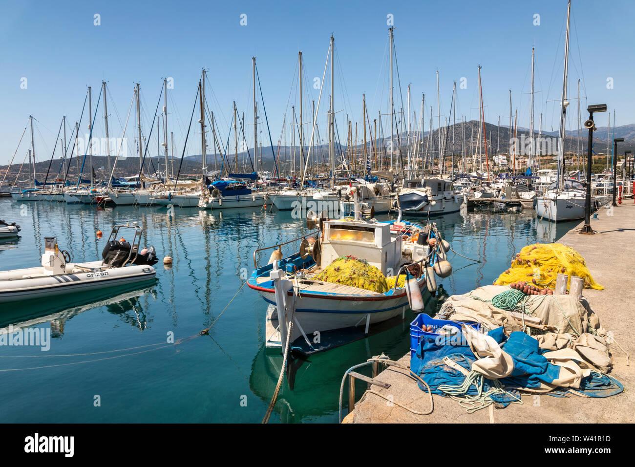 Boats in the marina of Agios Nikolaos - Crete, Greece Stock Photo