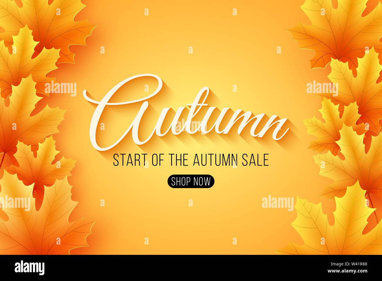 Web banner for Autumn sale with lettering. Seasonal poster with autumn leaves. Maple leaf. Start of a seasonal sale. Vector illustration. EPS 10 - Stock Image
