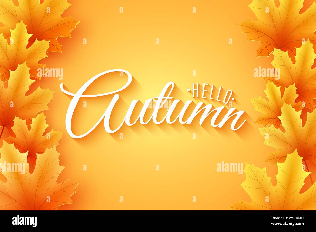 Autumn poster. Maple leaves with lettering. Seasonal banner for your design. Foliage frame. Vector illustration. EPS 10 - Stock Image