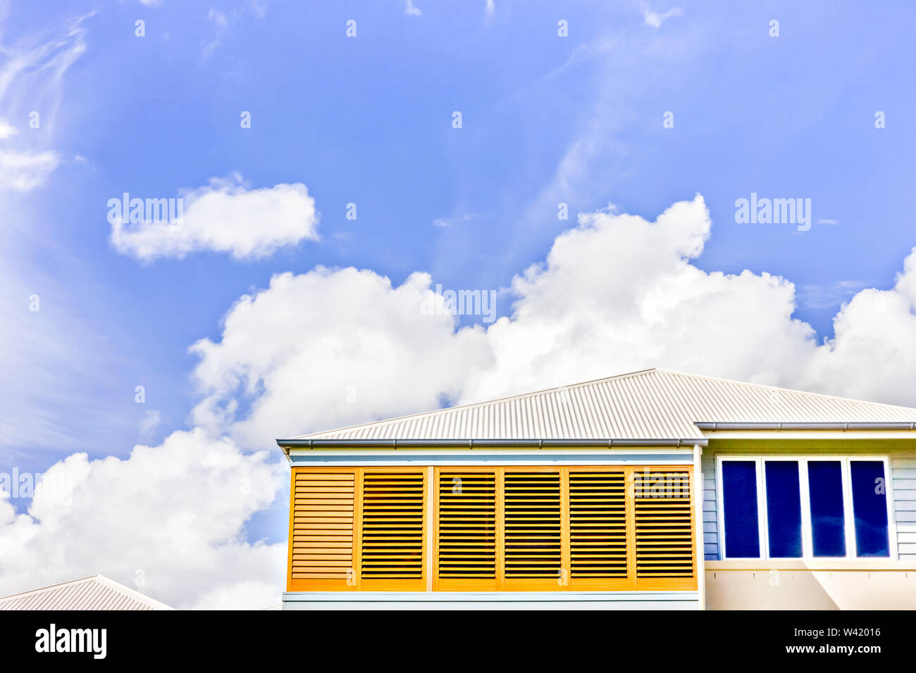 Sky Is Beautiful From Blue Color Luxurious Home With Designs Modern Apartment In City Wooden Windows Can See On Walls Drain Pipes Near Roof Stock Photo Alamy