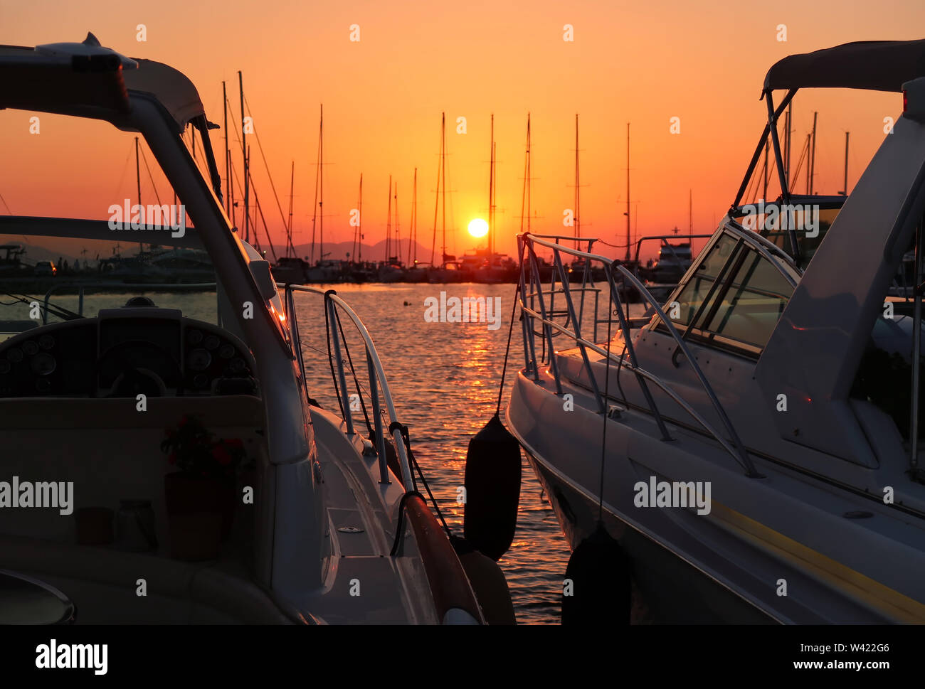 Sunset in the port - Stock Image