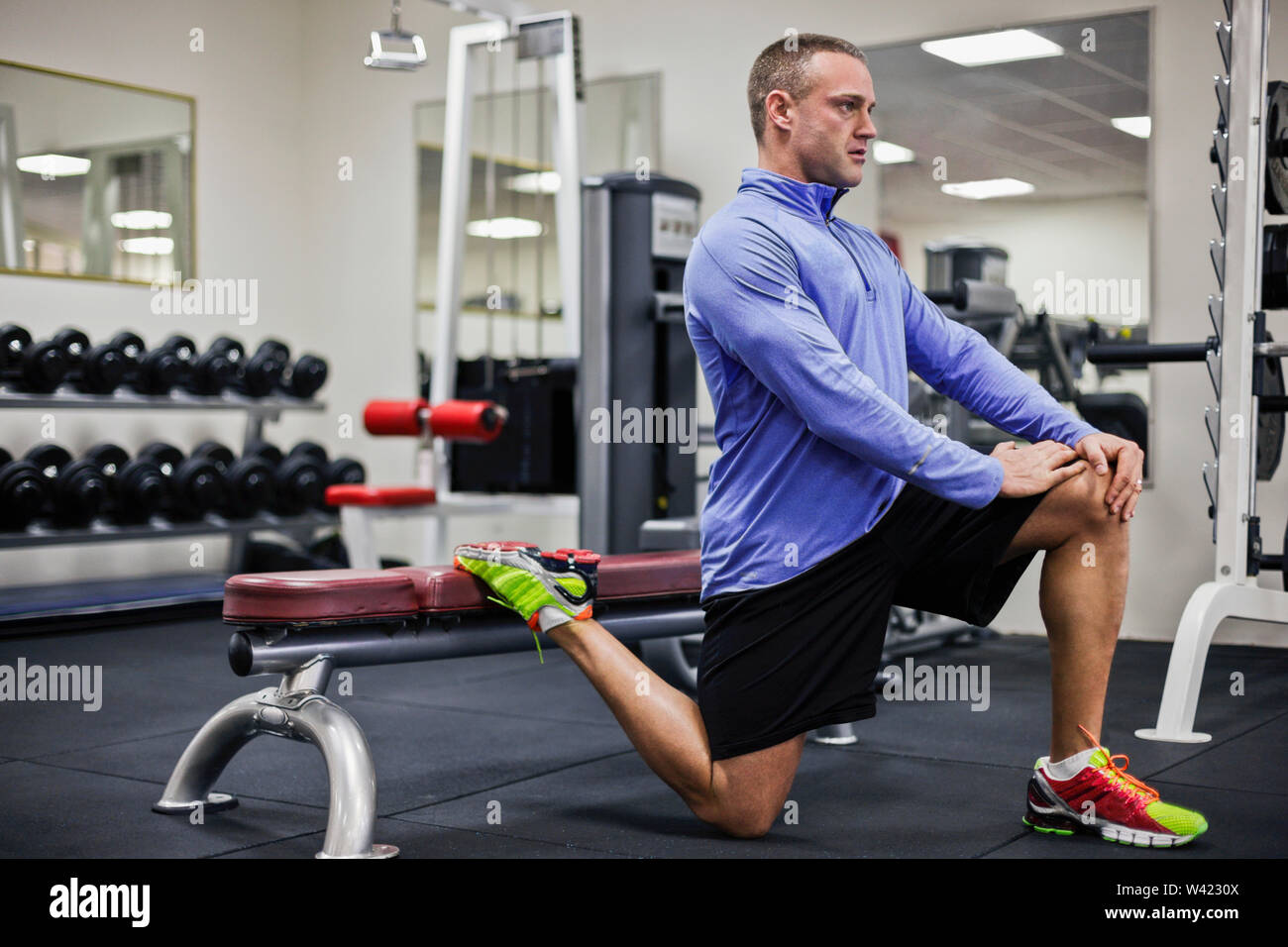 Amazing Healthy Trainer Work Outs To Legs On Bench Inside Room Of A Gmtry Best Dining Table And Chair Ideas Images Gmtryco
