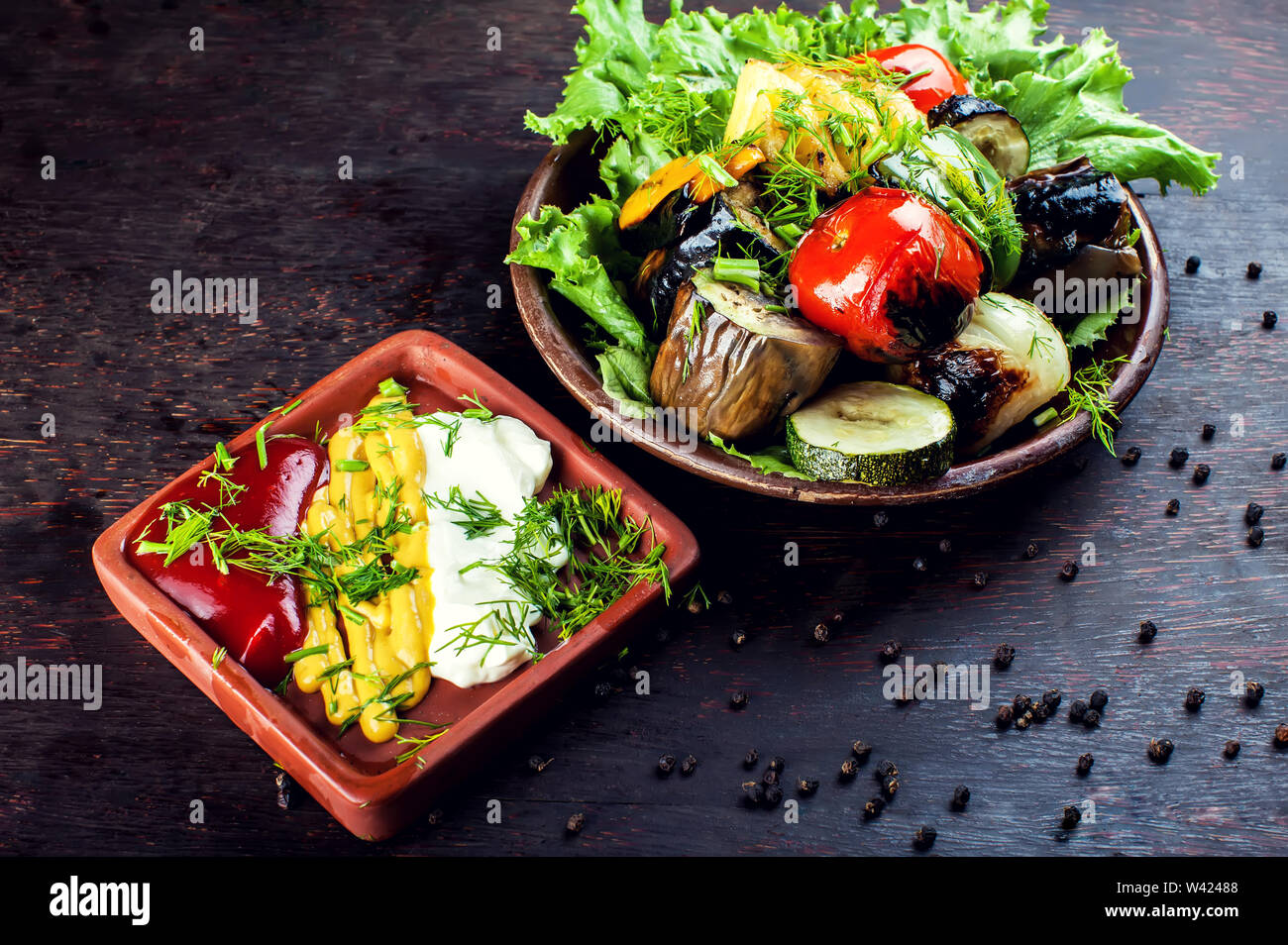 Big pieces of different grilled vegetables, closeup Stock Photo