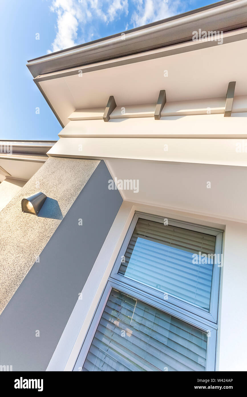 High Angle View Of A Modern House With The Roof And Glass Window From Front Side The Ceiling With Creative Design Fixed Under Blue Sky Including Clou Stock Photo Alamy