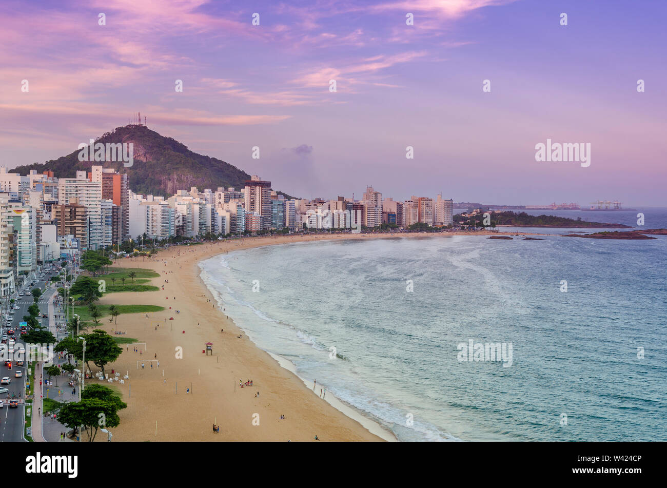 Spectacular sunset over Costa Beach in Vila Velha , ES , Brazil. - Stock Image