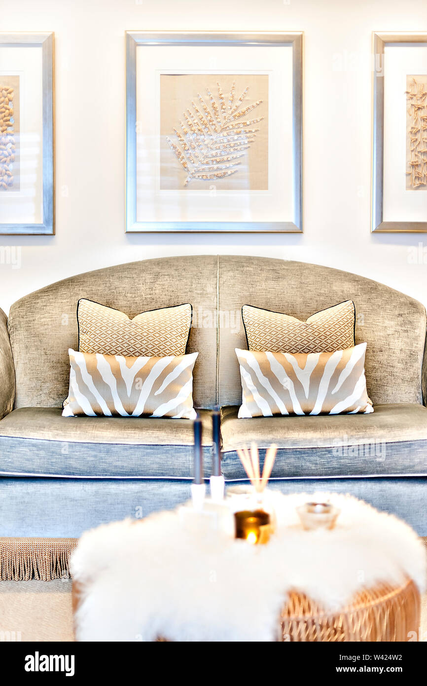 Incredible Pattern Pillows On The Sofa Beside The Blurred Table And Machost Co Dining Chair Design Ideas Machostcouk