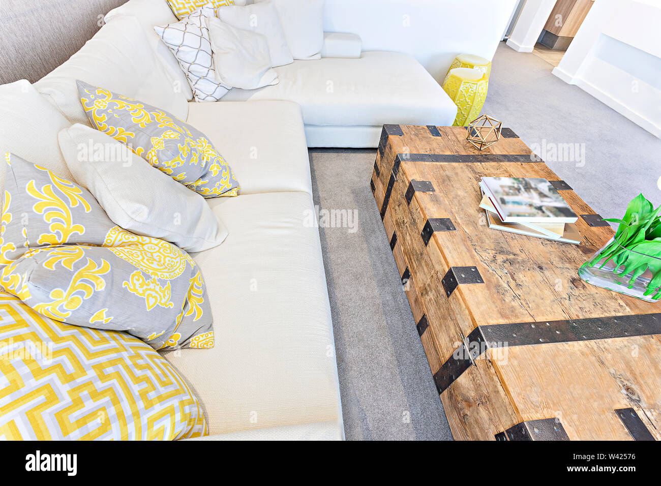 Astonishing Pillows On A White Sofa With A Wooden Table Box Some Books Squirreltailoven Fun Painted Chair Ideas Images Squirreltailovenorg