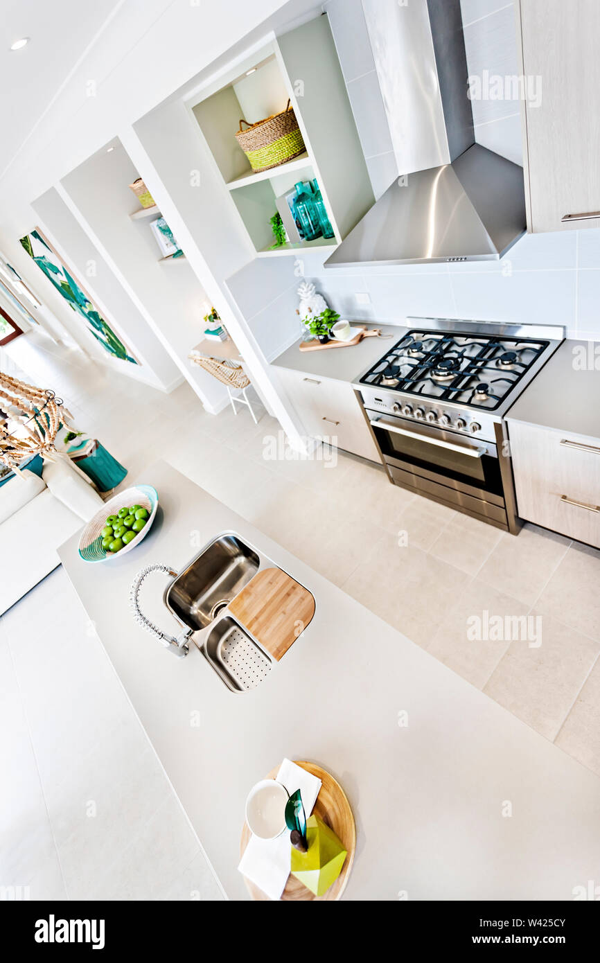 Colorful Kitchen Design Including All Facilities Modern