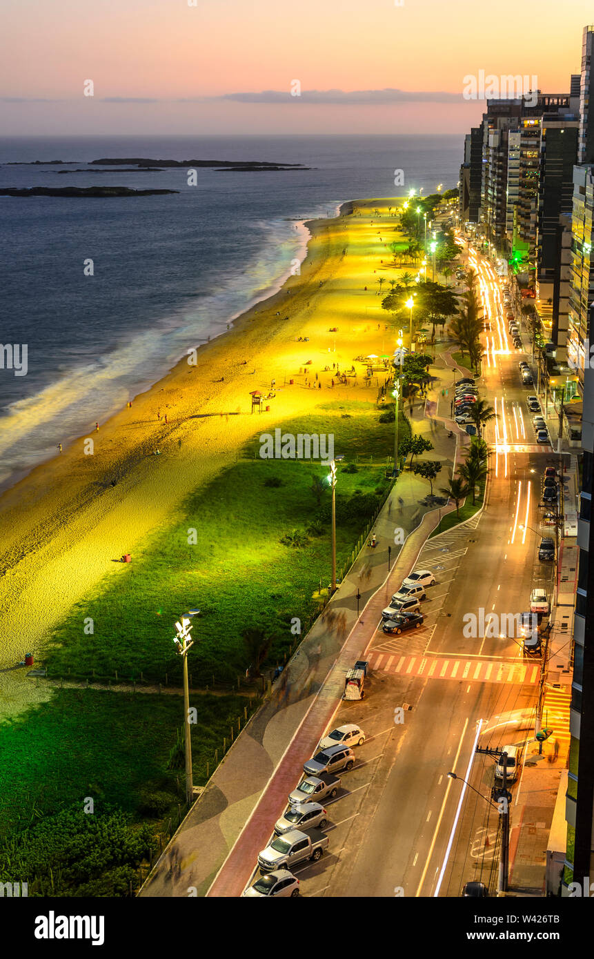 The Costa Beach in Vila Velha during sunset , Espirito Santo , Brazil. - Stock Image