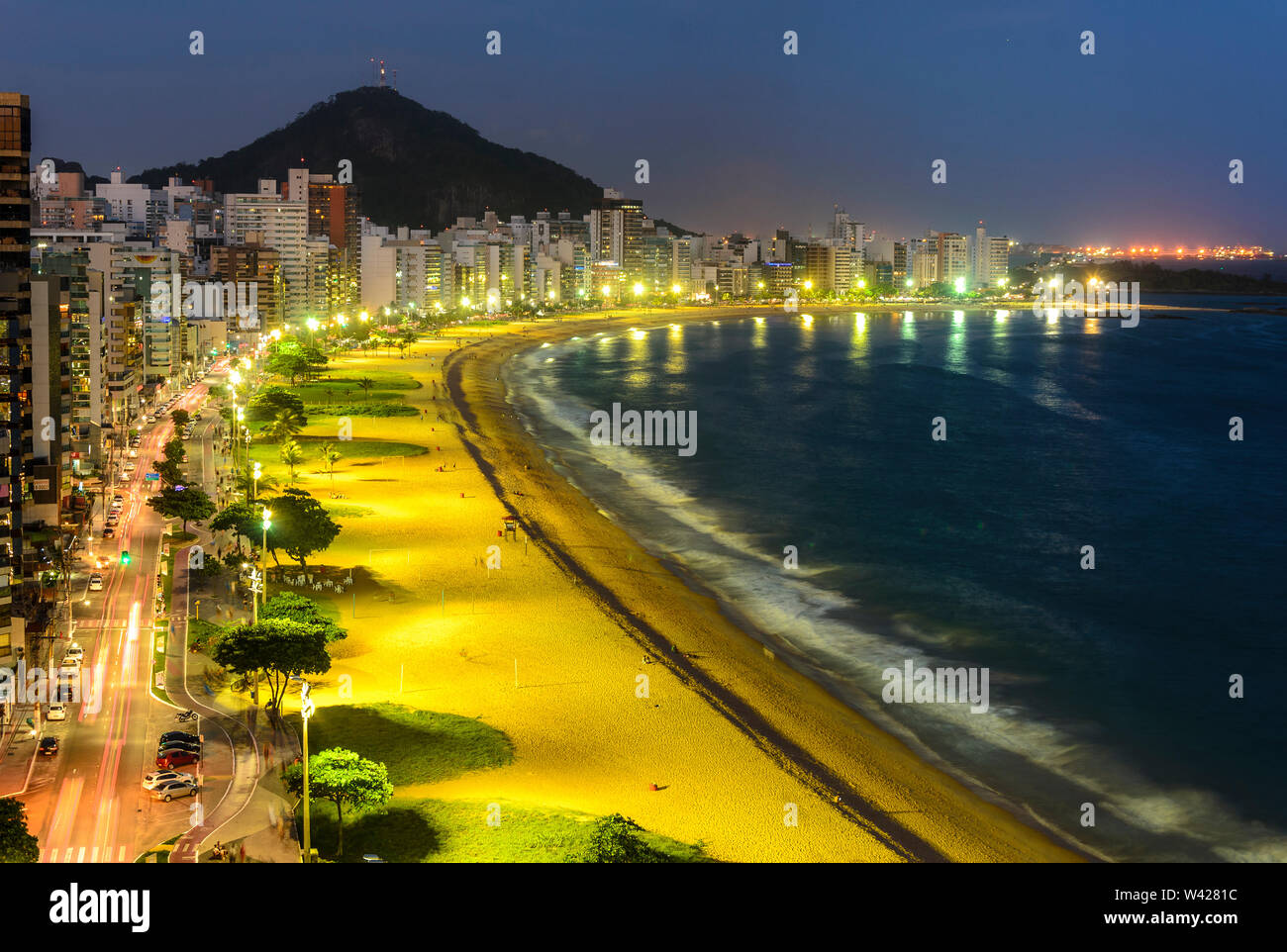 Night view of The Costa Beach in Vila Velha , Espirito Santo , Brazil. - Stock Image