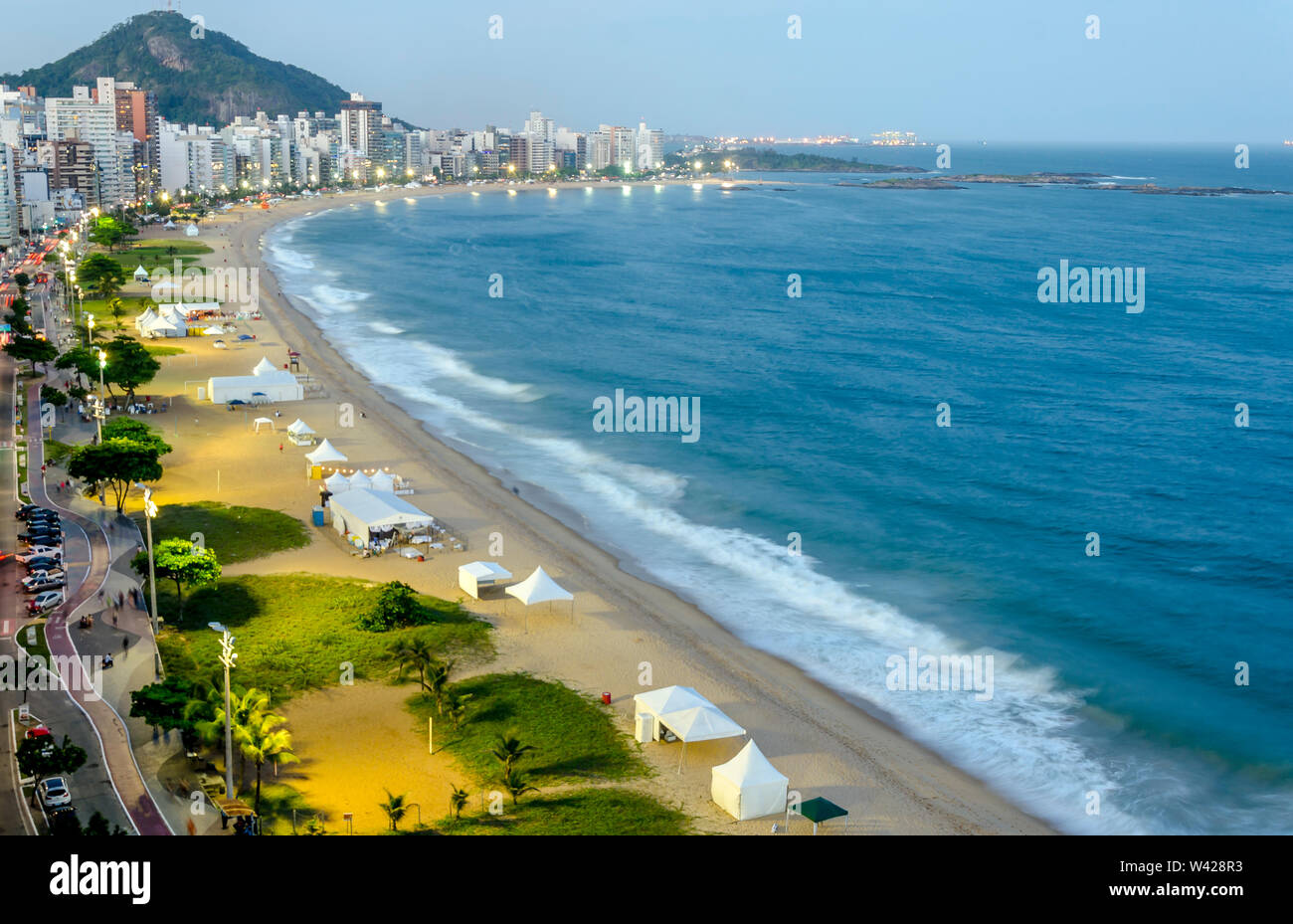 The Costa Beach in Vila Velha during the blue hour , Espirito Santo , Brazil. - Stock Image