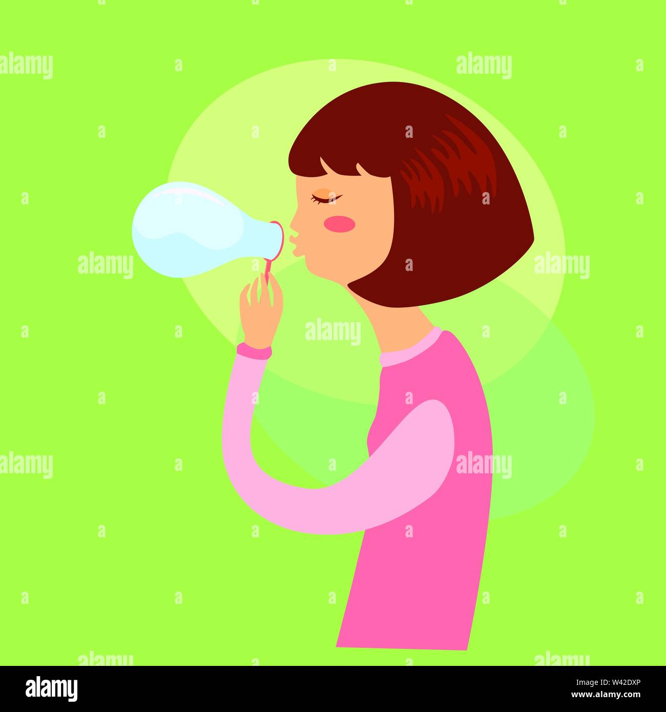 Woman playing soap bubbles. Cute Girl blowing Soap bubble isolated on green background. - Stock Vector