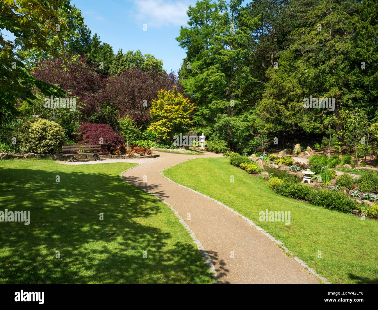 The Japenese Garden in summer in Valley Gardens Harrogate North Yorkshire England Stock Photo