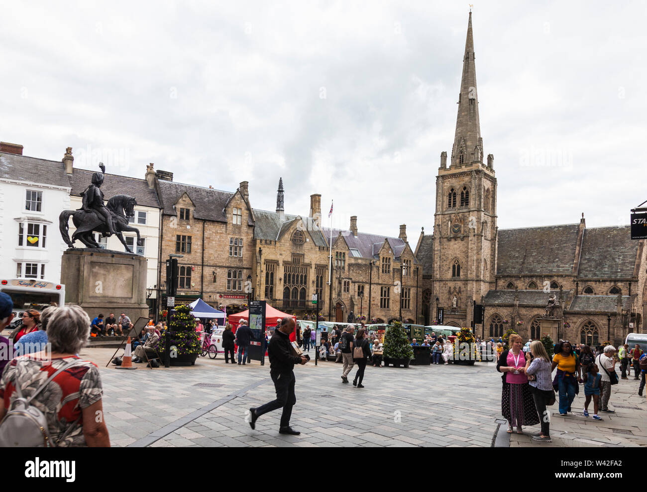 A street scene in the Market Place in Durham,England,UK - Stock Image