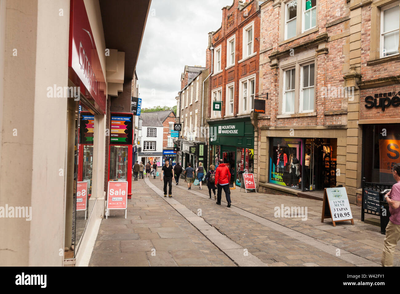 A street scene in Silver Street,Durham,England,UK - Stock Image