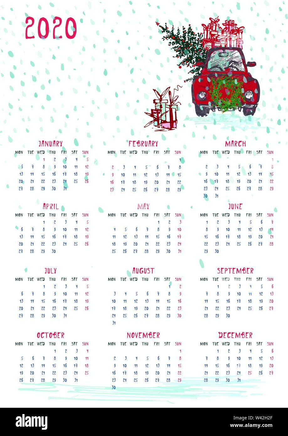 Printable Christmas Calendar 2020 2020 Calendar planner whith red christmas car, new year tree and