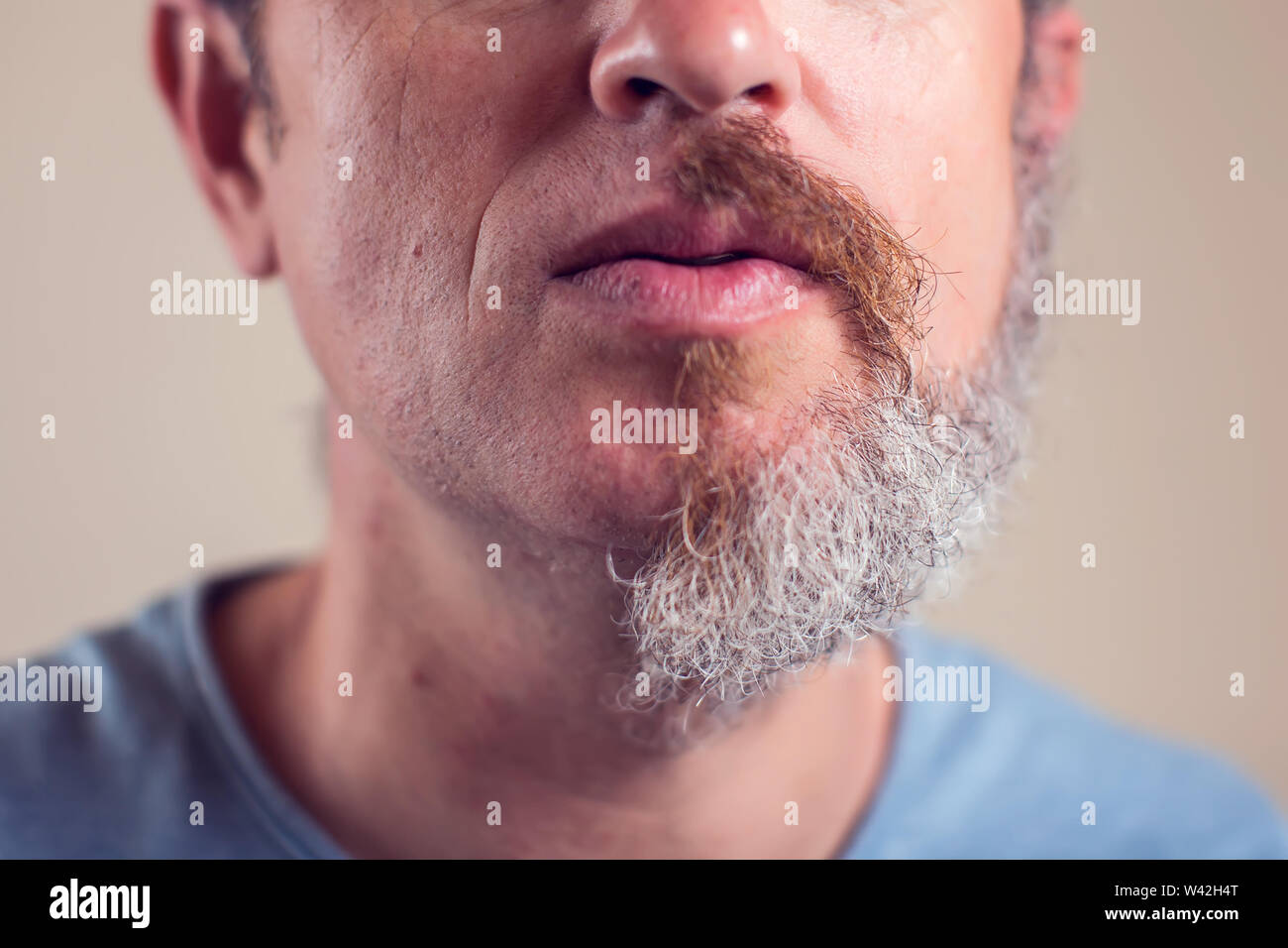 A portrait of man with half beard and hair on brown background Stock Photo