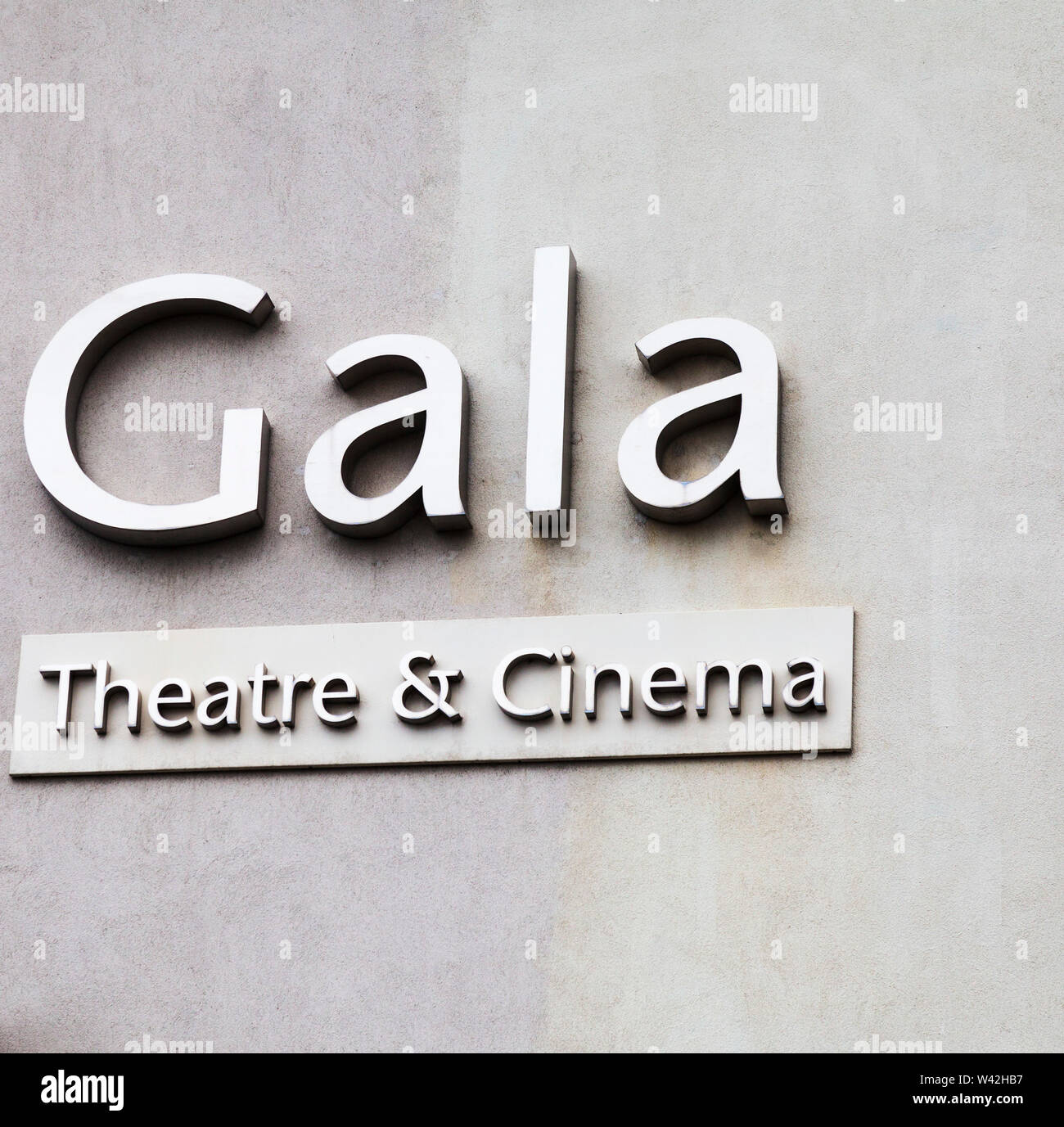 Close up of the sign for the Gala Theatre and Cinema in Durham,England,UK - Stock Image