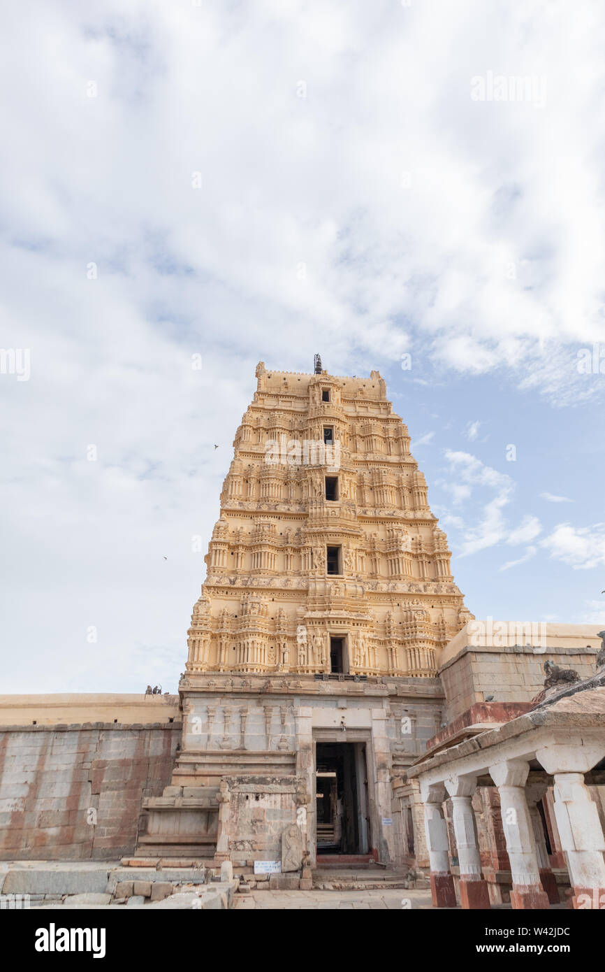 Hampi, India July 8, 2019 : Inner View of Virupaksha or Pampapati temple North Gopuram exit at Hampi, Karnataka, India. - Stock Image