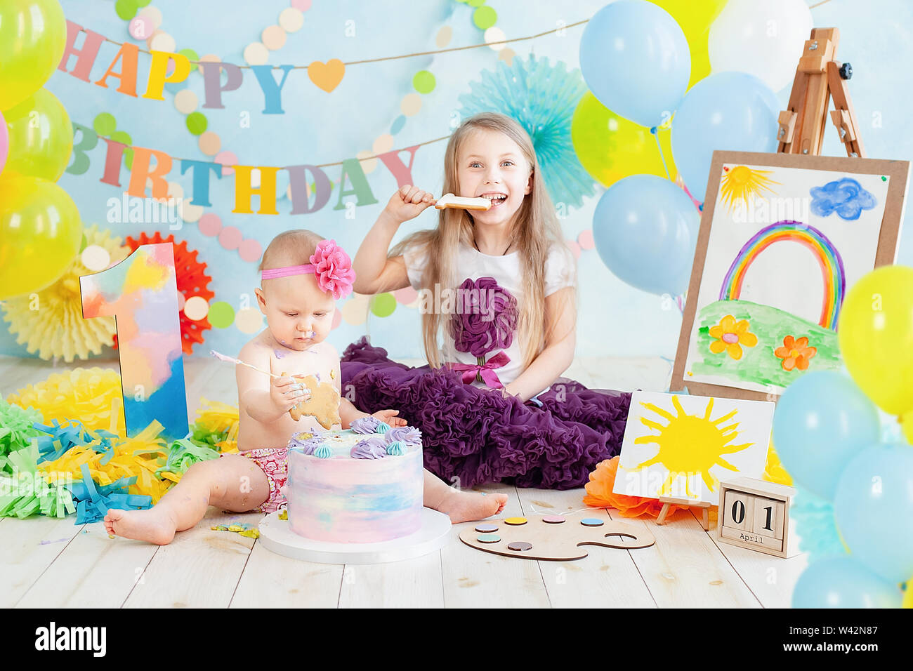 Awe Inspiring Decoration For Girls First Birthday Smash Cake In A Art Painter Funny Birthday Cards Online Barepcheapnameinfo