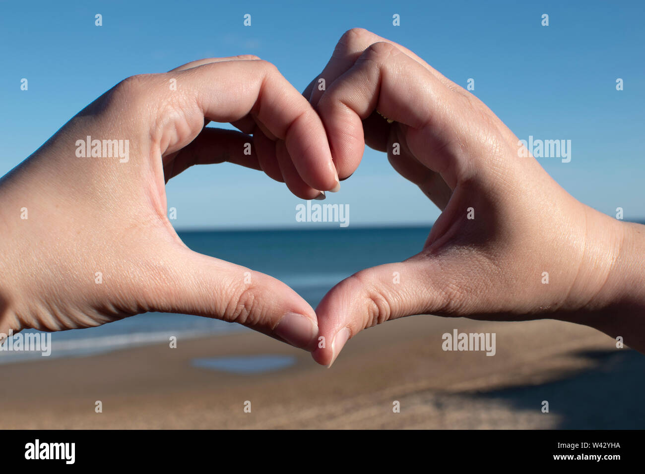 Sunset in heart hands on sea - Stock Image