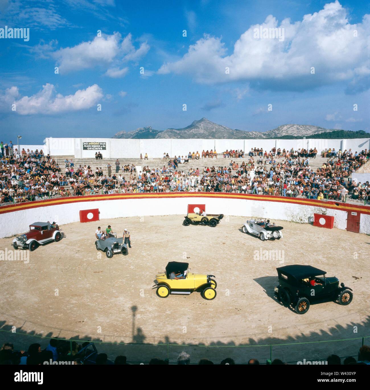 Oldtimertreffen in Spanien in den 1980er Jahren. Vintage car meeting in spain the 1980s. Stock Photo