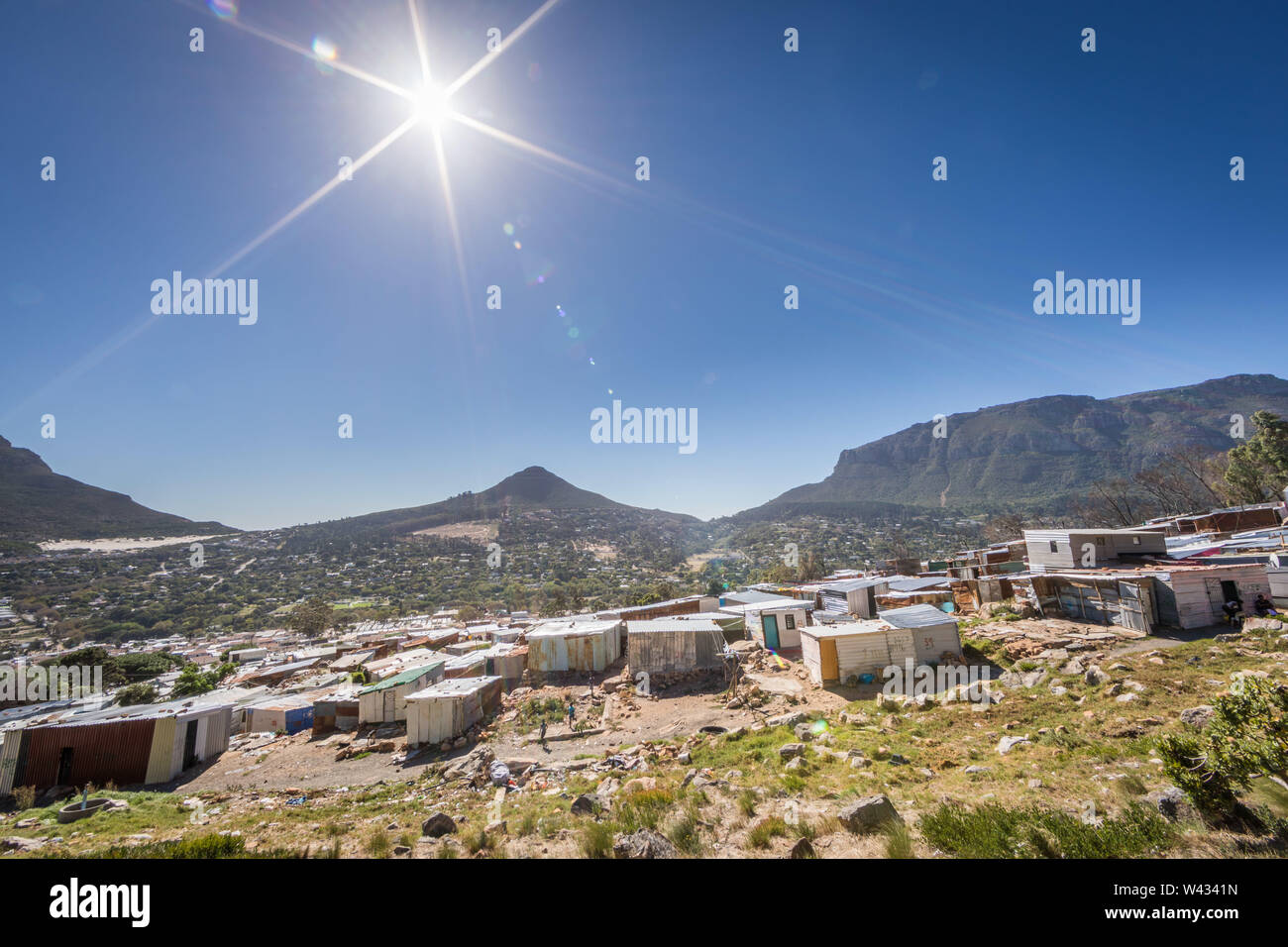 Imizamo Yethu informal settlement, Hout Bay, Cape Town, Western Cape, South Africa lacks infrastructure like adequate water supply, toilets, sewerage Stock Photo