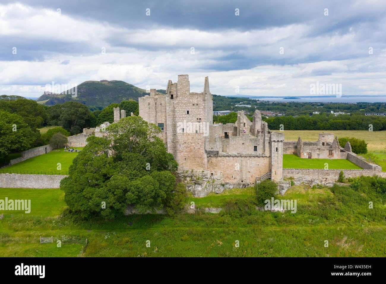 Elevated view of Craigmillar Castle in Edinburgh, Scotland UK. Stock Photo