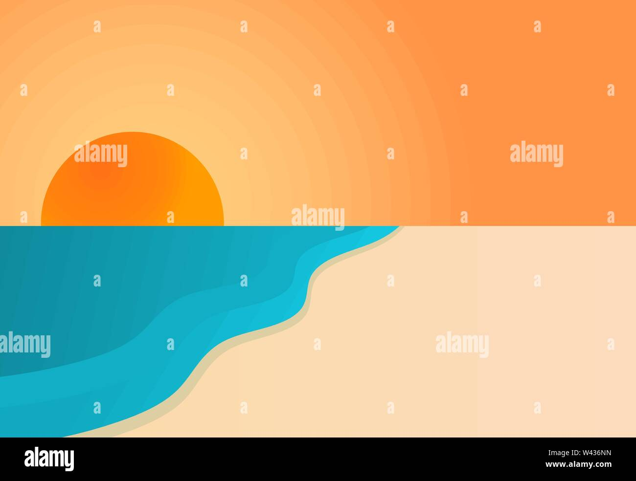 Sunset over sea and beach. Vector background. - Stock Image