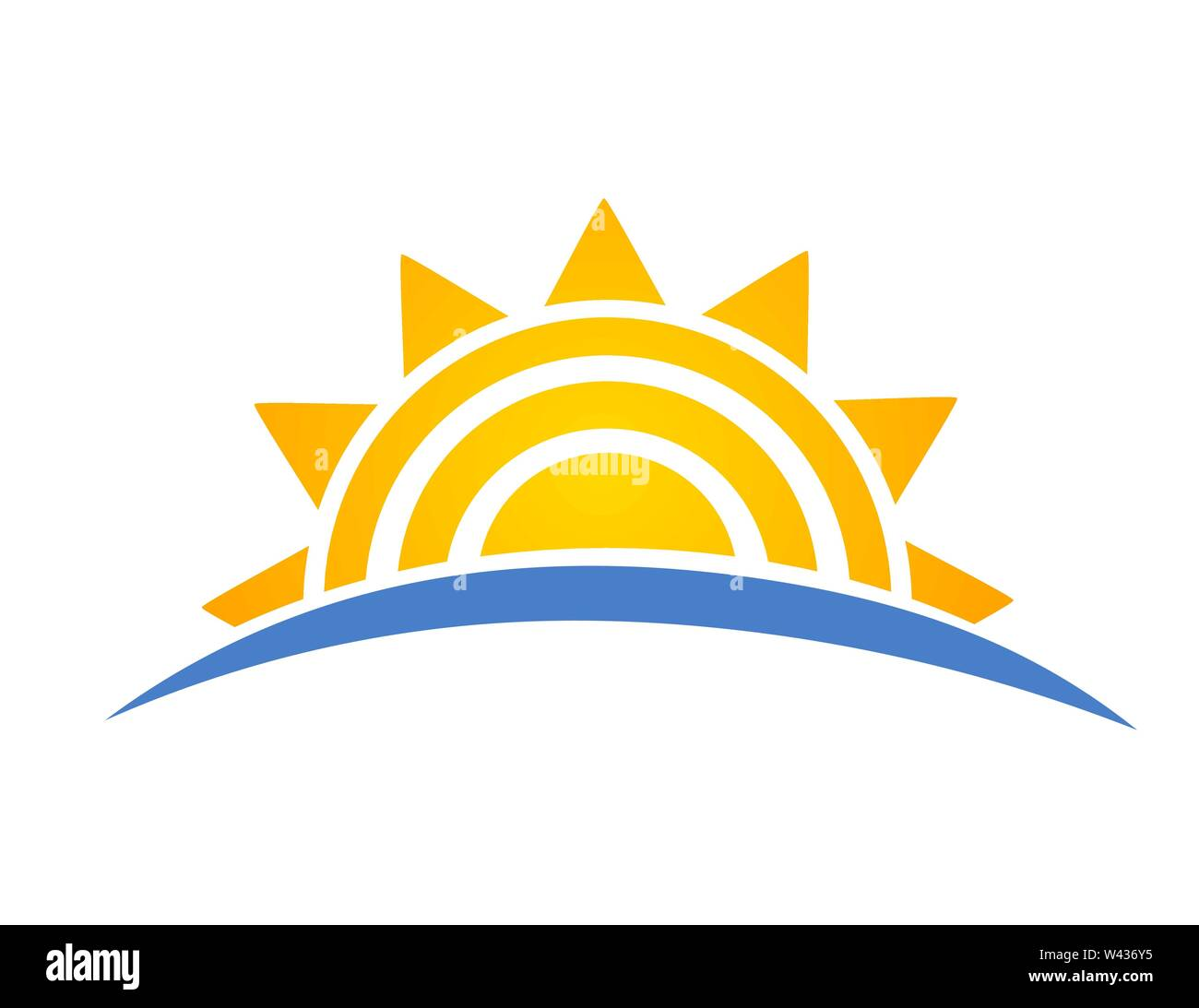 Sun setting over sea icon logo. Vacation travel concept. Vector illustration - Stock Image