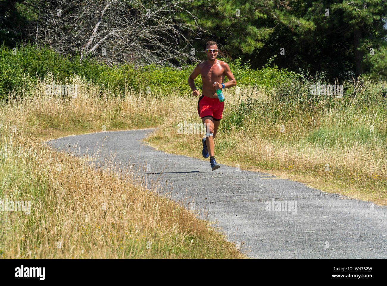 Vannes, FRANCE, Man Jogging on Path, Ile d'Arz, in Golfe de Morbihan, Tourists Visiting, SUmmer Vacation - Stock Image
