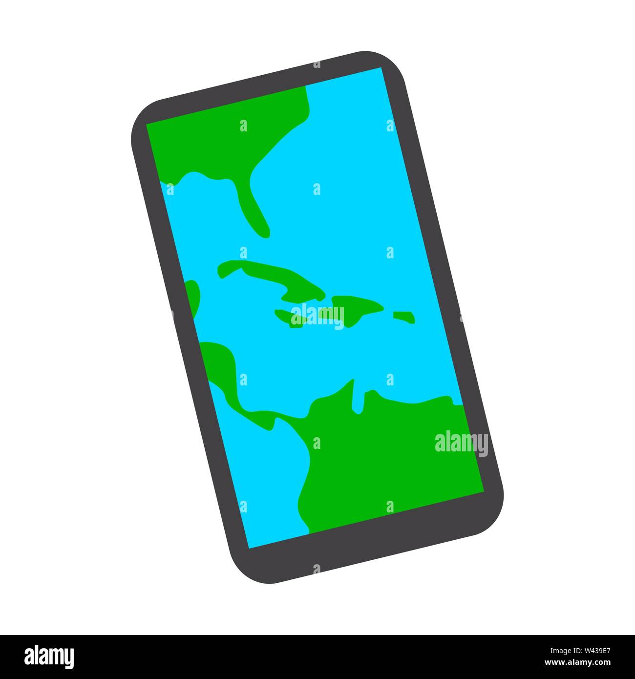 Map in a smartphone on a white background - Vector - Stock Vector