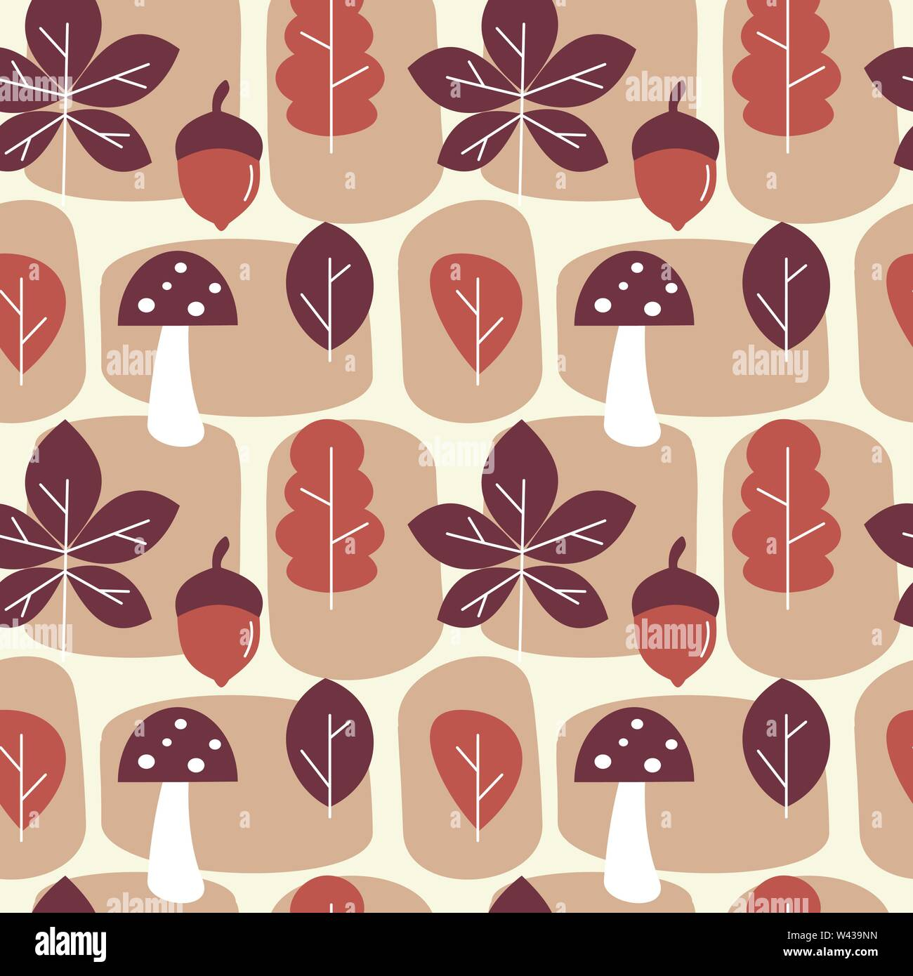 cute autumn fall seamless vector pattern background illustration with leaves, mushroom, abstract elements and acorns - Stock Image