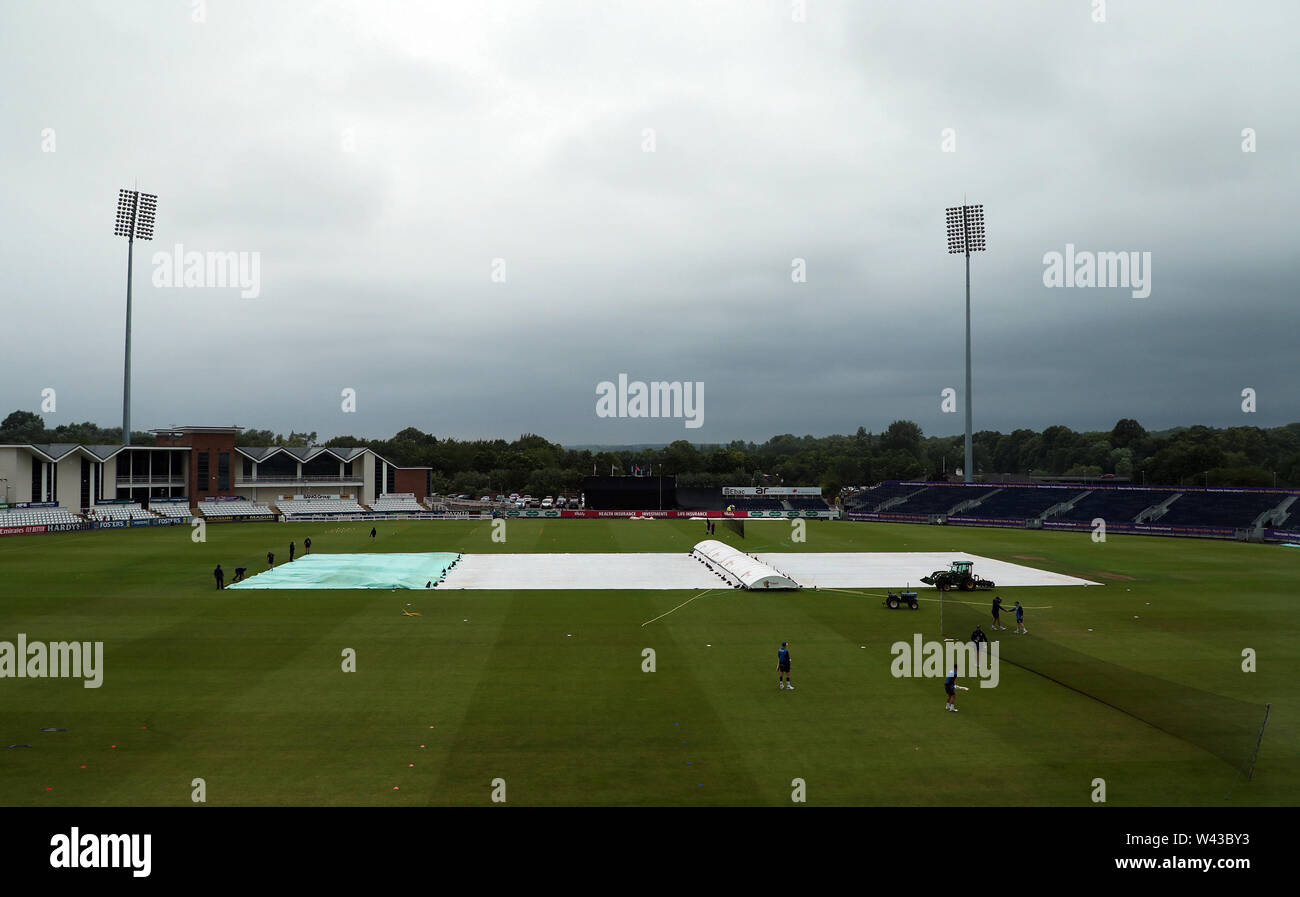 A general view of the pitch with the rain covers on ahead of the Vitality Blast T20 match at Emirates Riverside, Durham. - Stock Image