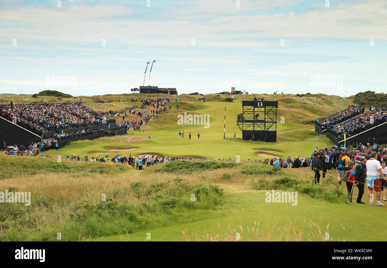 19th July, Portrush, Country Antrim, Northern Ireland; The 148th Open Golf Championship, Royal Portrush, Round Two ; a view of the 13th green and fans in the grandstands Stock Photo