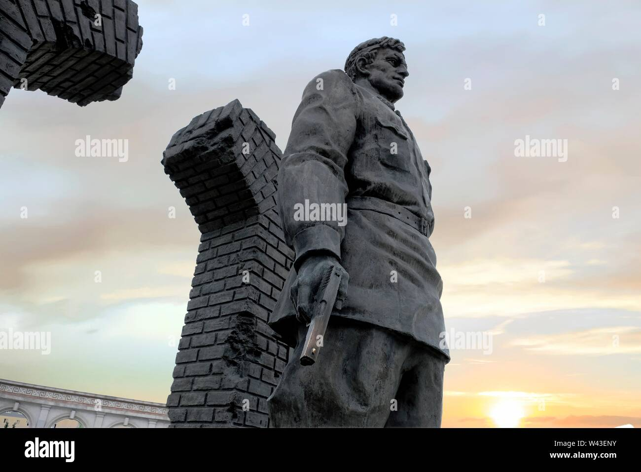 Monument to Umatgirei Barkhanoyev a Soviet Ingush soldier who was the last survivor and defender of Brest Fortress in Belarus during the Second World War placed at the Nazran Memorial For The Ingush And Chechen Deportation located in the Republic of Ingushetia in the North Caucasian Federal District of Russia. - Stock Image