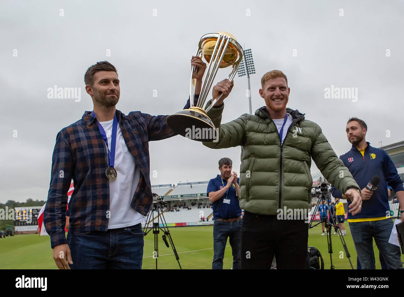 CHESTER LE STREET, ENGLAND 19th July 2019. 2019. England and Durham cricketers Ben Stokes and Mark Wood parade with the Cricket World Cup during the Vitality T20 Blast match between Durham County Cricket Club and Northamptonshire County Cricket Club at Emirates Riverside, Chester le Street on Friday 19th July 2019. (Credit: Mark Fletcher   MI News ) Credit: MI News & Sport /Alamy Live News - Stock Image