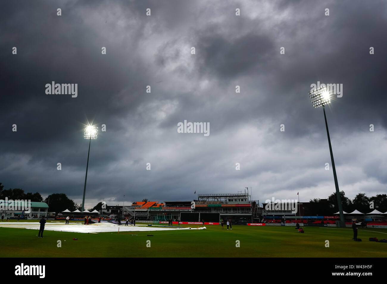 19th July 2019, Fischer County Ground, Vitality Blast T20 Cricket match, Leicestershire versus Lancashire Lightning; Storm clouds gather over the Fischer County Ground before the start of the match Stock Photo