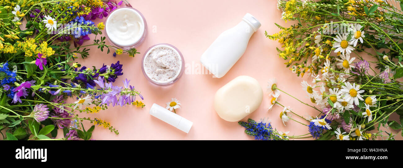 Eco Friendly Skincare Natural Cosmetics And Organic Herbs And Flowers On Pink Background Top View Banner Bio Research And Healthy Lifestyle Concep Stock Photo Alamy